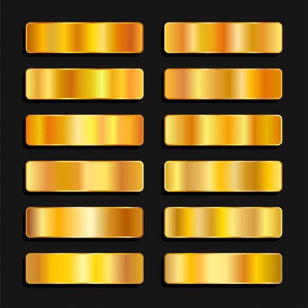 Goldgoldene farbpalette metallischer farbverlauf
