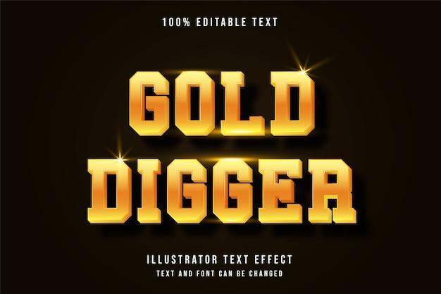 Goldgräber, bearbeitbarer gelber moderner schattenstil des 3d-texteffekts