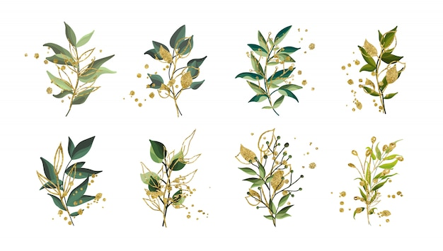 Goldgrüne tropische blätter, die blumenstrauß mit den goldenen splatters lokalisiert heiraten. blumenvektorillustrationsanordnung in der aquarellart. botanischer kunstentwurf
