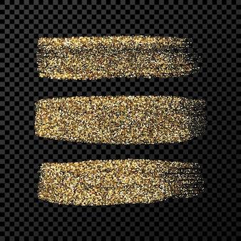 Goldgrunge-pinselstriche. set aus drei bemalten tintenstreifen. tintenfleck auf dunklem transparentem hintergrund isoliert. vektor-illustration