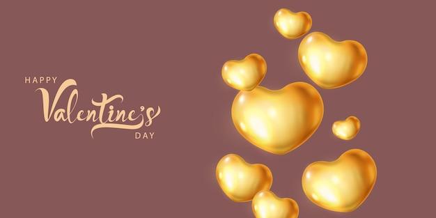 Goldherzballons-entwurfsschablone. fröhlichen valentinstag