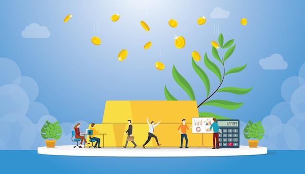 Goldinvestition mit goldbarren- und münzgewinn mit wachsender baum- und grafikdiagrammrendite mit modernem stil