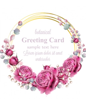 Goldkartenrahmen mit rose blüht aquarell