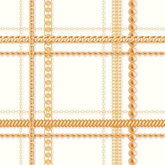 Goldketten und und perlen auf weißem nahtlosem luxusmuster.