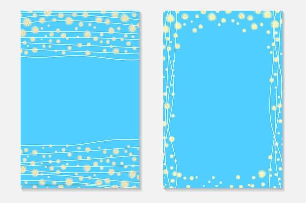 Goldkonfetti auf blauem hintergrund. cover-set mit goldenen punkten und pailletten. einladungskarten für party, flyer.