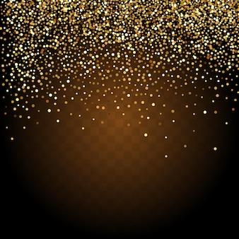 Goldkonfetti auf transparentem rahmen.