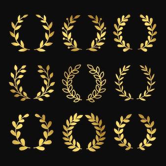 Goldkränze. kranzschattenbilder auf schwarzem hintergrund