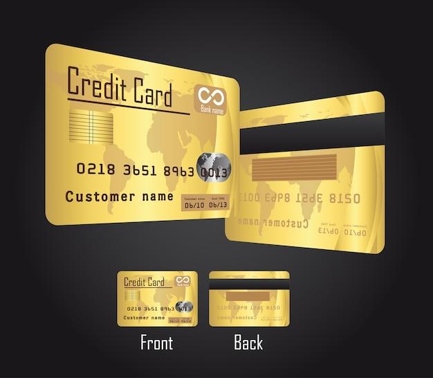 Goldkreditkarten über schwarzer hintergrundvektorillustration