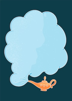 Goldlampe und rauchwolke im weinlesestil auf blauem hintergrund.