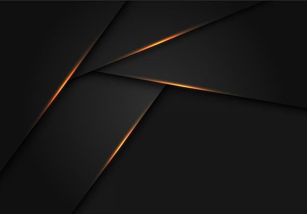 Goldlicht auf futuristischem hintergrund des dunkelgrauen metallischen polygons.