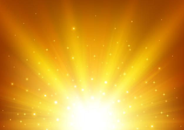 Goldlicht, das mit scheinen glänzt