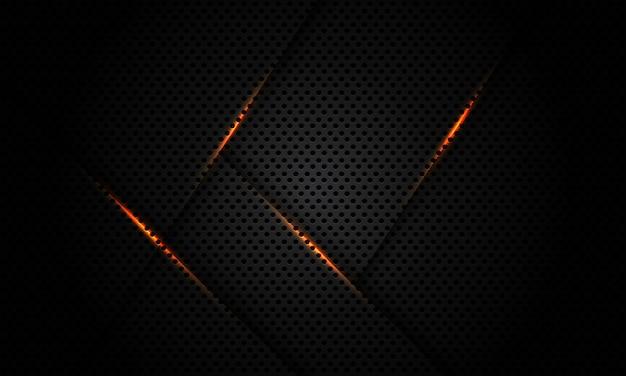 Goldlichtlinie dunkelgrau schwarz metallisches sechsecknetz futuristischer technologiehintergrund.