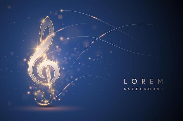 Goldlichtmusiknote auf blauem hintergrund