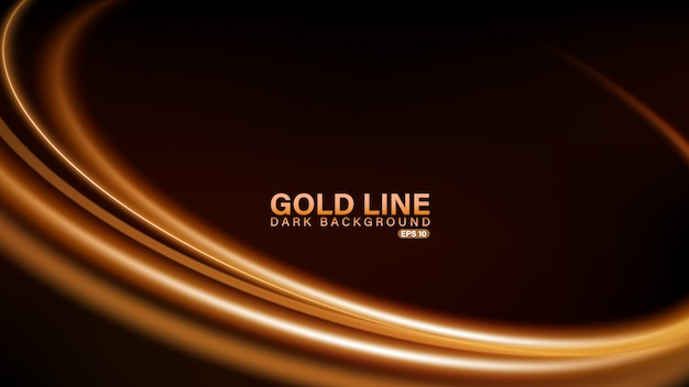 Goldlinie des lichts auf dunklem hintergrund