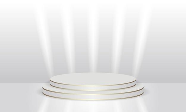 Goldlinien und lichtlichter abstrakte luxusrunde szene für produktanzeige