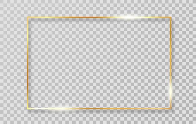 Goldluxus glänzender realistischer weinleserahmen des glühens mit schatten lokalisiert auf transparentem hintergrund.