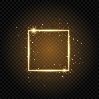 Goldluxusrahmen lokalisiert auf transparentem hintergrund. glühender quadratischer rahmen mit funkelnschein und -sternen.