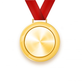Goldmedaille mit rotem band. lorbeerkranz. auszeichnung für den sieg. gewinner.