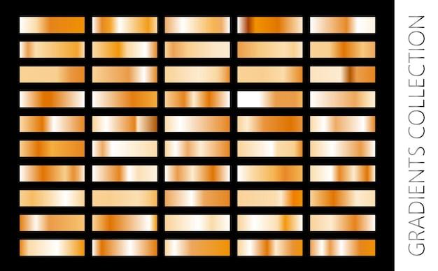 Goldmetallgradientensammlung und goldfolienbeschaffenheitssatz glänzendes vektorsillustration für plakatbroschüreneinladungs-tapetenflieger-banner banner