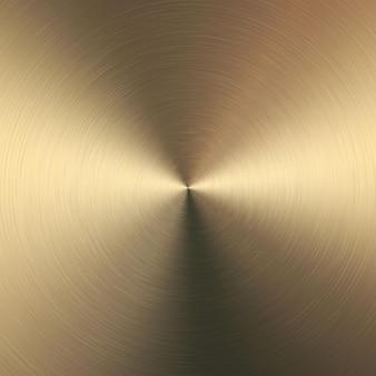 Goldmetallischer radialer farbverlauf mit kratzern. oberflächeneffekt der goldfolienoberfläche.