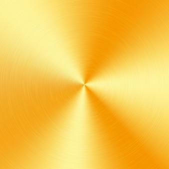 Goldmetallischer radialverlauf mit kratzern. oberflächeneffekt der goldfolienoberfläche.