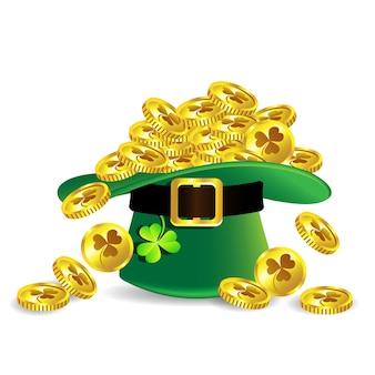 Goldmünze in grünem st patrick tageshut mit shamrock