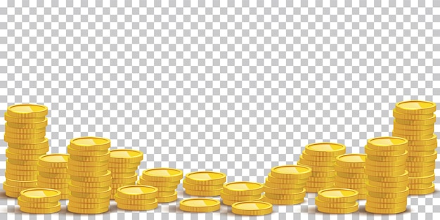 Goldmünze stapelt mockup illustration bargeld haufen reichtum isoliert auf transparentem hintergrund