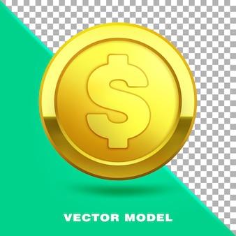 Goldmünzen-cent-bargeld mit dollarzeichen 3d realistisch