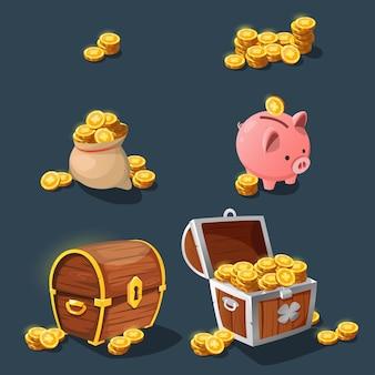 Goldmünzen, eine reihe verschiedener alter goldmünzen für die spieloberfläche.
