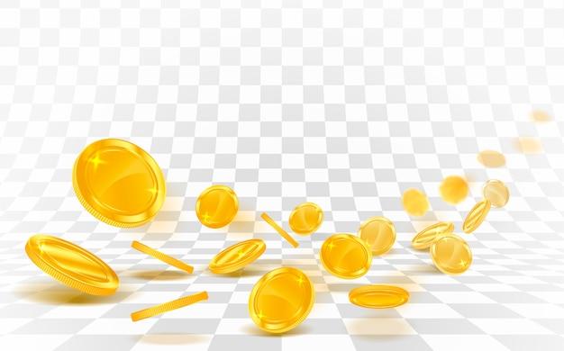 Goldmünzen fallen gestreut auf einem weißen hintergrund.