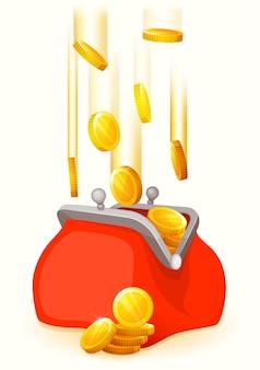 Goldmünzen fallen in offene retro-geldbörse. flacher stil. rote geldbörse.