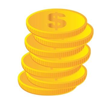 Goldmünzen lokalisiert über weißem hintergrundvektor
