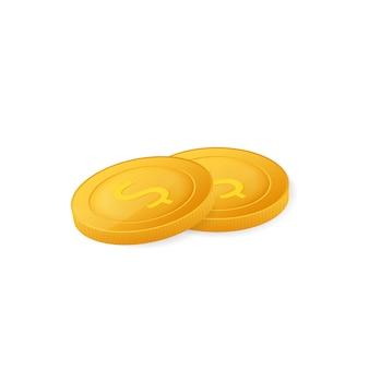 Goldmünzen stapeln. finanzhaufen, dollarmünzenstapel. isoliert