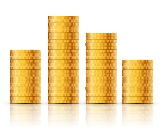 Goldmünzen stapeln. geschäftskonzept des geldmünzensymbolentwurfs. bargeldwährungsillustration