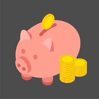 Goldmünzen und sparschwein im trendigen isometrischen stil. illustration isoliert auf schwarzem hintergrund.