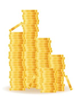 Goldmünzenillustration lokalisiert auf weiß
