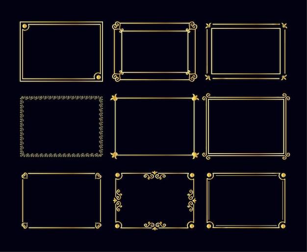 Goldornamente im art-deco-stil arabischer vintage dekorativer goldrahmen retro geometrisch dekorativ