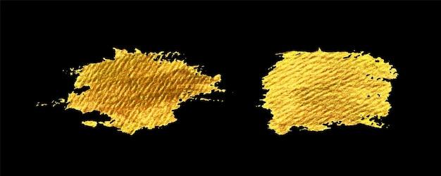 Goldpinselstrich auf schwarzem hintergrund eingestellt