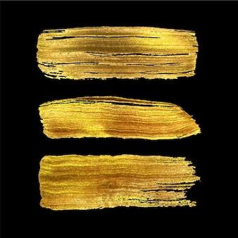 Goldpinselstrich handbemalt auf schwarzem hintergrund