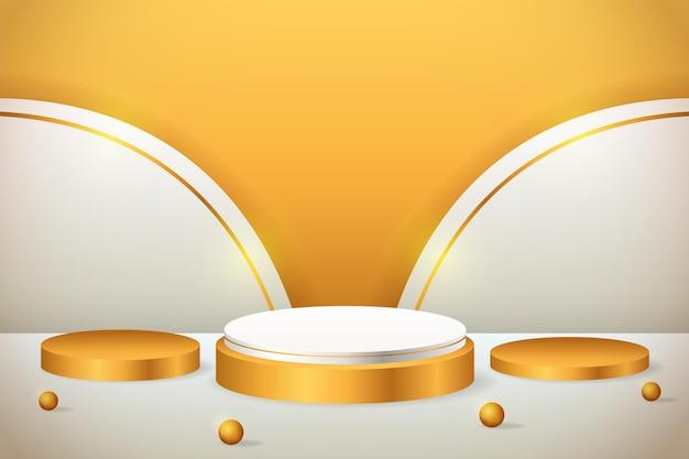 Goldpodest der 3d-produktanzeige mit geometrischer form