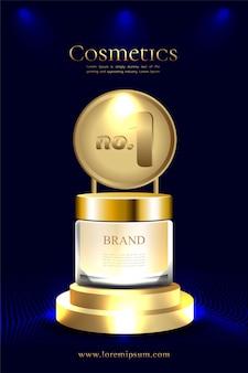 Goldpodest für das bestseller-kosmetikprodukt