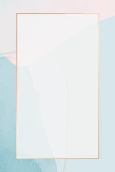 Goldrahmen auf neutralem blauem aquarellhintergrund