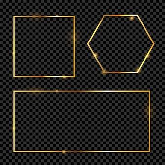 Goldrahmen auf transparentem hintergrund-sammlungssatz. illustration
