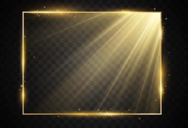 Goldrahmen auf transparentem hintergrund.
