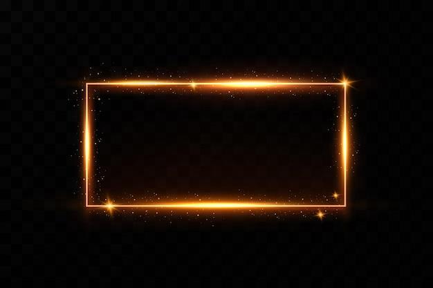 Goldrahmen mit feurigen funken. goldrahmen mit lichteffekten. leuchtendes banner.