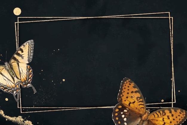 Goldrahmen mit gemustertem hintergrundvektor des schmetterlings