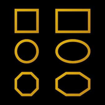 Goldrahmen mit unterschiedlicher form auf schwarzem hintergrund isoliert