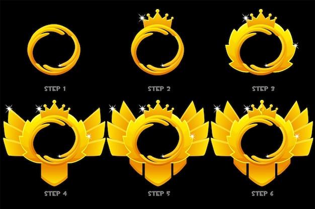 Goldrahmen-spielrang, runde avatar-schritte-animationszeichnung für das spiel. illustrationssatz gold blank mit einer krone für auszeichnung, designverbesserungen.