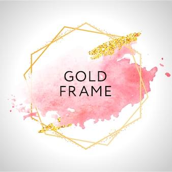 Goldrahmenfarbe handbemalter pinselstrich. perfekt für überschrift, logo und verkaufsbanner. aquarell