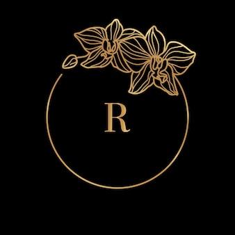 Goldrahmenschablone orchideenblume und monogrammkonzept mit dem buchstaben r im minimalen linearen stil. vektorblumenlogo mit kopienraum für text. emblem für kosmetik, medikamente, lebensmittel, mode, schönheit